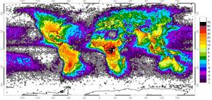 Antall lynnedslag per km²/år.