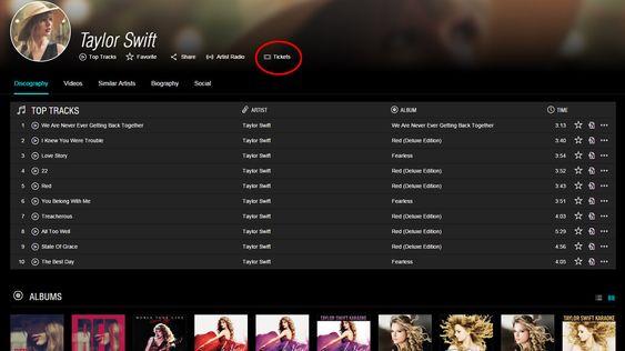 Taylor Swifts nye TIDAL-profil, med billettkjøp-lenke.