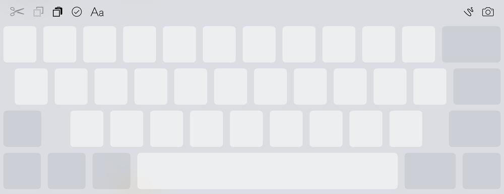 Med en gang du begynner å bruke to fingre på tastaturet, gråer bokstavene over og skjermen blir til en pekeplate som lar deg flytte markøren rundt. Funksjonen var meget god på iPad, men litt vanskeligere å bruke på en mindre iPhone-skjerm.