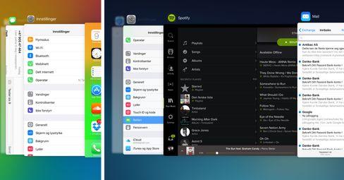 Slik ser den nye oppgavevekslingen i iOS 9 ut. iPhone 6 Plus til venstre, iPad Air 2 til høyre.