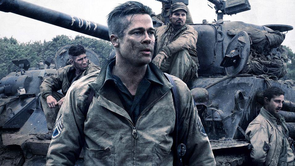 Dette er et promobilde fra krigsfilmen Fury, som Brad Pitt hadde hovedrollen i.