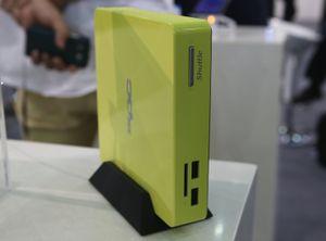 Datamaskinen kan også plasseres på høykant.