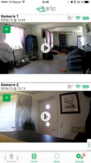Slik ser appen ut om du vil se hva som foregår hjemme.