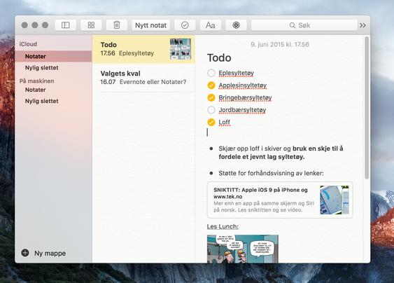 Notat-appen har fått en skikkelig overhaling i OS X El Capitan.