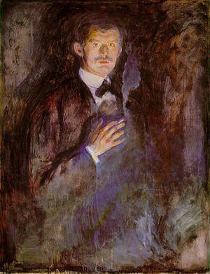 Edvard Munchs Selvportrett med sigarett (1895).