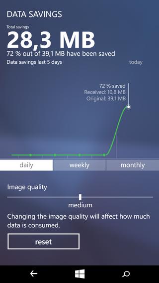Du kan selv stille på hvor hardt du ønsker at Operas servere skal komprimere dataene dine.