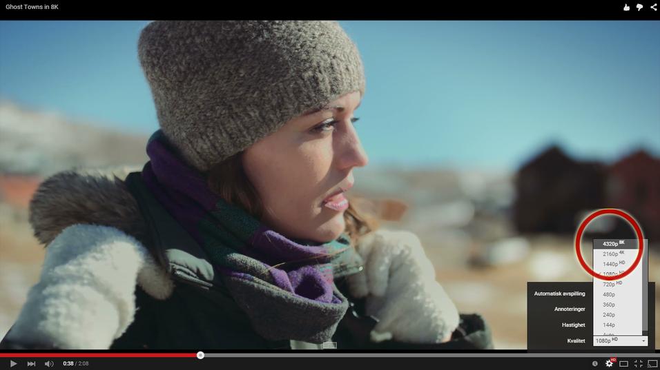 YouTube byr nå på videoer hvor du kan velge 8K-oppløsning.