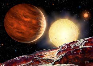 Keele University fikk kunstneren David A. Hardy til å tenke seg hvordan planeten kunne ta seg ut.