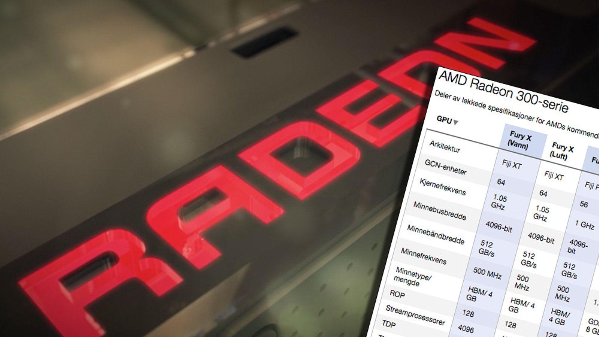 Spesifikasjonene for toppkortene i AMDs kommende Radeon 300-serie har lekket på nett.