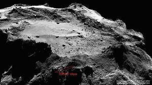 Man tror nå at Philae har landet i det merkede området. Litt uheldig med landingsplassen der, altså.
