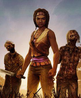 Michonne med katanaen og hennes to følgesvenner.