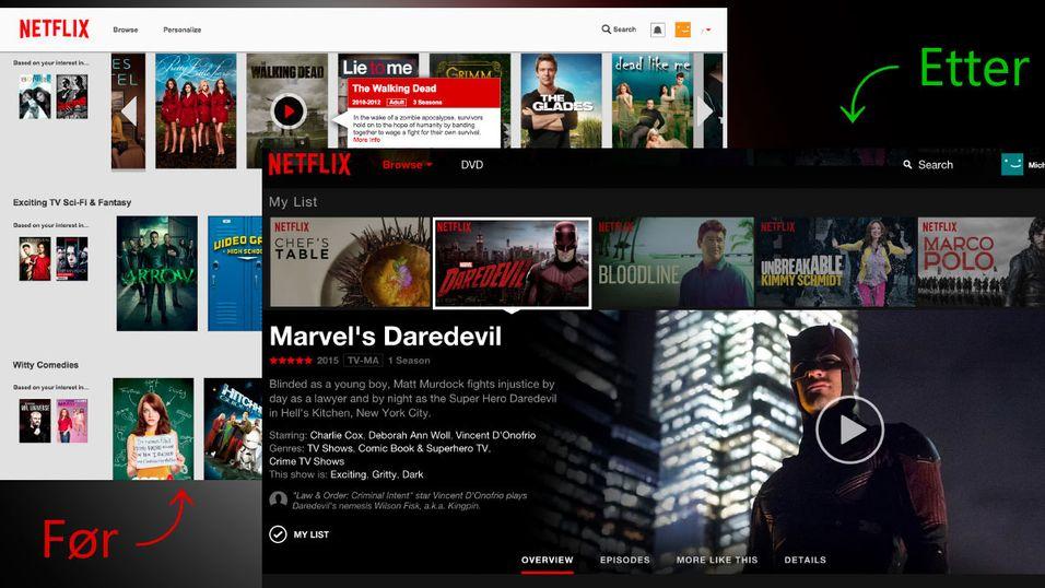 Dette er den første gang siden 2011 at Netflix fikser på grensesnittet i nettleserutgaven.