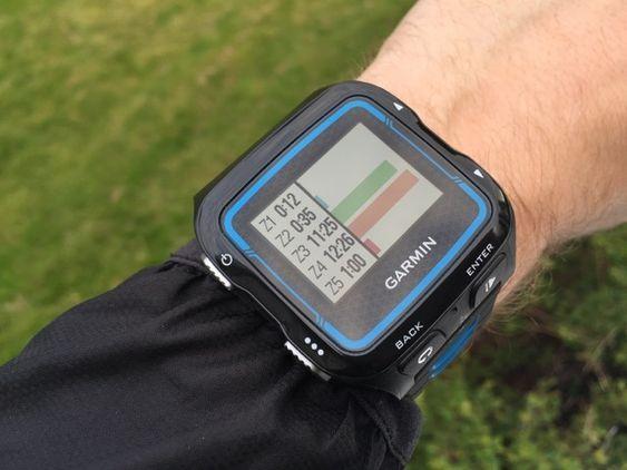 Etter treningen kan du se hvor lang tid du har brukt i ulike pulssoner.