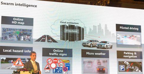 Audi vil bruke kommunikasjon mellom bilene til å la dem varsle hverandre om farer og handlinger i trafikken.