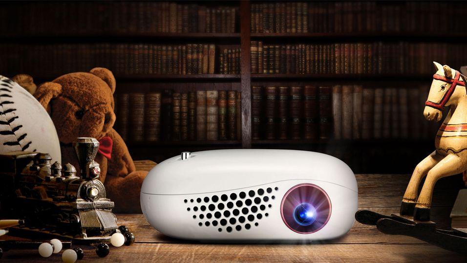 Slik ser LG Minibeam Nano ut. Minus teddybjørnen og trehesten, altså.