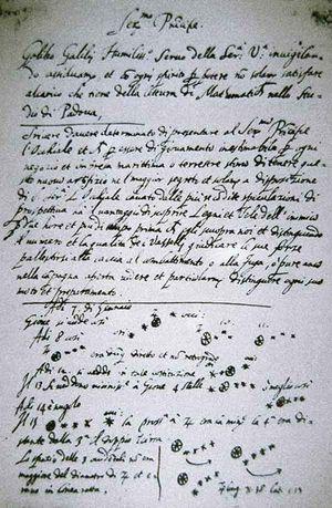 Dette brevet fra Galileo Galilei inneholder de første kjente referansene til Jupiters måner.