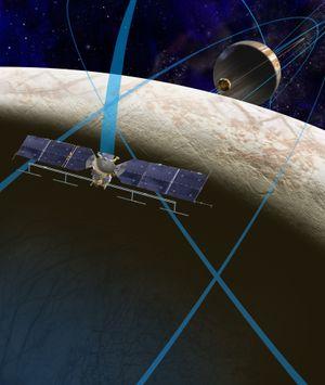 En konsepttegning av romsonden og banen den skal ta.