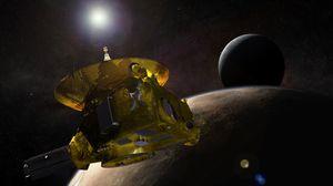 Illustrasjonsbilde av New Horizons-sonden utenfor Pluto og månen Charon.