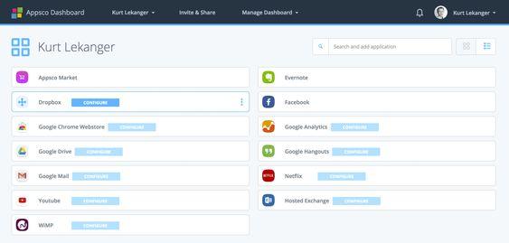 Dashboardet i Appsco. Ved å trykke «konfigurer» setter du opp den aktuelle web-appen med brukernavn og passord –slik at du neste gang kan starte den med ett klikk.
