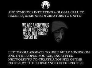 Støtteerklæringen fra Anonymous på Facebook.