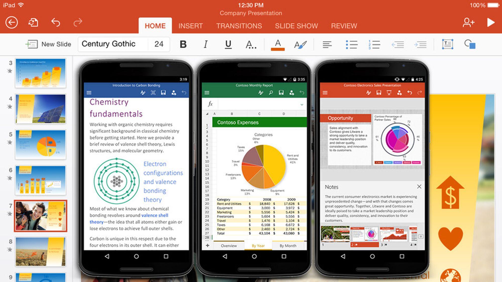 Slik ser Microsofts Office-pakke ut for Android-telefoner.
