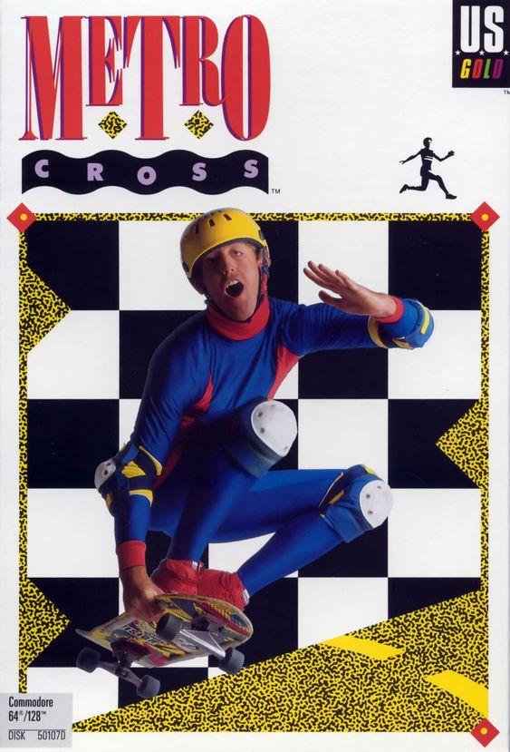 Coveret til det sideskrollende arkadespillet Metro Cross. Alt fra uttrykket til drakten sier «hold deg unna!».