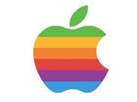 Slik så Apples logo ut før fargene ble fjernet i 1998. Logoen i videoen ser nærmest ut som en slags moderne versjon av den gamle logoen.