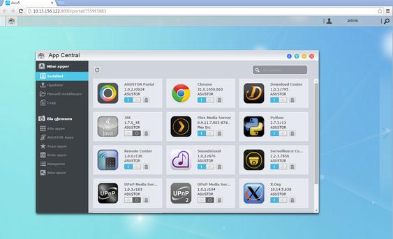 «App Central» kan forsyne NAS-en med tilleggsfunksjonalitet.