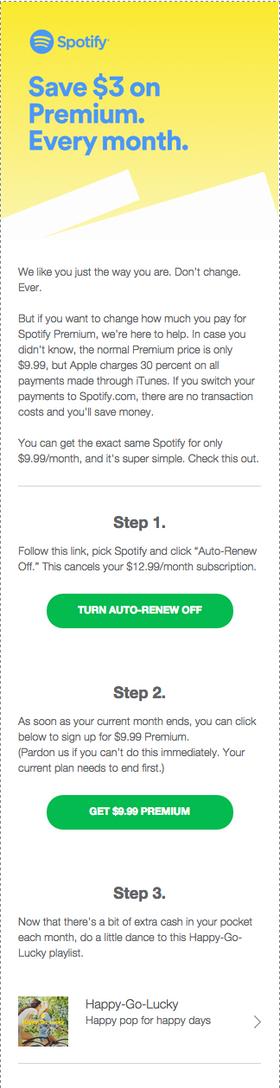 Her er e-posten som Spotify har begynt å sende ut til sine kunder.