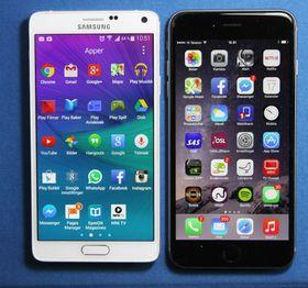 Galaxy Note 4 (til venstre) fikk et kraftig skudd for baugen da iPhone 6S Plus (til høyre) ble lansert kun et par dager etter førstnevntes lansering i fjor. Nå vil Samsung unngå samme tabbe igjen, ifølge ryktene.