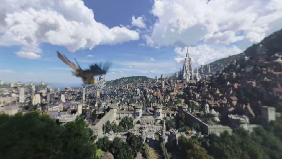 Opplev Warcraft-byen Stormwind fra ryggen til en griff