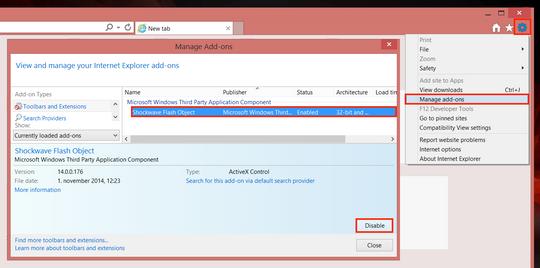 Om du bruker Interent Explorer må du deaktivere Adobe Flash.