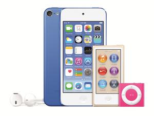 Hele iPod-familien, som nå fås i nye farger.