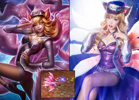 COPYCATS: Cosplayere kler seg ofte ut som spillfigurer. Her er Popstar Ahri fra League Of Legends (t.v og nede), portrettert av den sørkoreanske gruppen Spiral Cats (t.h).
