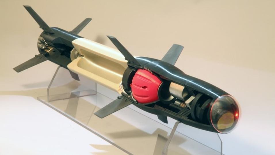 Modell som viser alle de 3D-skrevne delene av missilet.