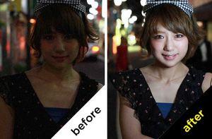 Selfie-bilde før og etter bruk av ringblitsen.