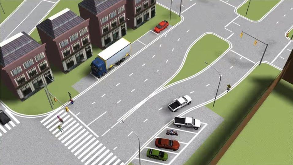 Vanskelige filskifter med parallelle parkeringer er bare noen av utfordringene de selvkjørende bilene møter i Mcity.