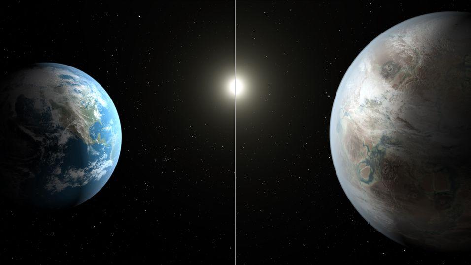 Kunstnerisk illustrasjon av den nyoppdagede planeten, med Jorden til venstre.