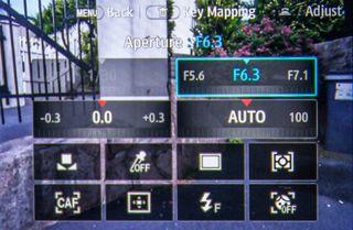 Hurtigmenyen på Samsung NX500.