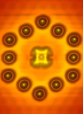Transistoren bestod av ett organisk molekyl omgitt av 12 indium-atomer.