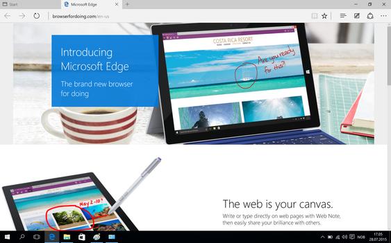 Den nye nettleseren, Edge, er rask og fungerer stort sett bra. Internet Explorer lurer imidlertid fortsatt i kulissene.