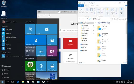 Windows 10 har gått bort fra apper som på død og liv skal dekke hele skjermen. Nå er det vinduer som gjelder igjen - men innholdet i vinduene tilpasser seg skjermstørrelsen.