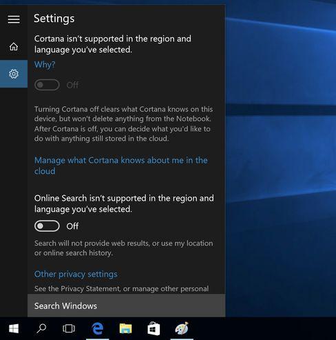 Cortana har fått skryt andre steder, men i Norge vil hun ikke. Hverken språk eller regionsinnstillinger er støttet.