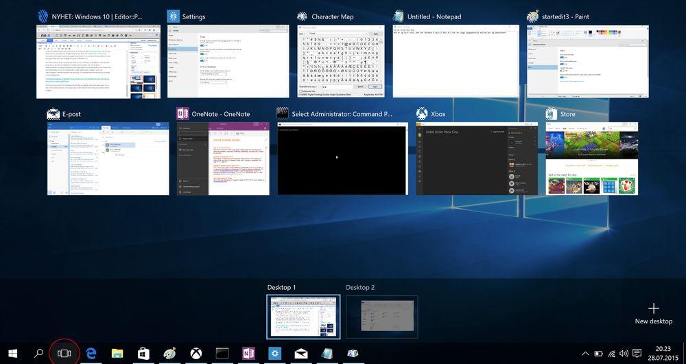 Den nye Task View-knappen fungerer som en snarvei til det som før var Tab + Windows-tast. I tillegg viser den deg hvor mange åpne skrivebord du har.