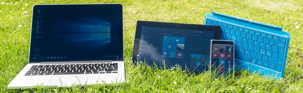 Møt familien. Windows 10 skal fungere bra på PC, nettbrett og mobiltelefon. Sistnevnte får ikke endelig Windows 10 før litt senere i år, men det er fullt mulig å prøvekjøre operativsystemet allerede nå.