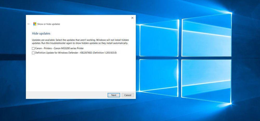 Velger du å skjule oppdateringer (Hide updates) kan du velge blant oppdateringene som er tilgjengelig for PC-en din. Vær obs på at allerede installerte oppdateringer først må fjernes igjen før de dukker opp her.