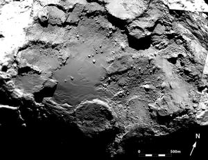 Kometoverflaten er egentlig ganske stilig. Dette bildet er tatt av Rosetta.