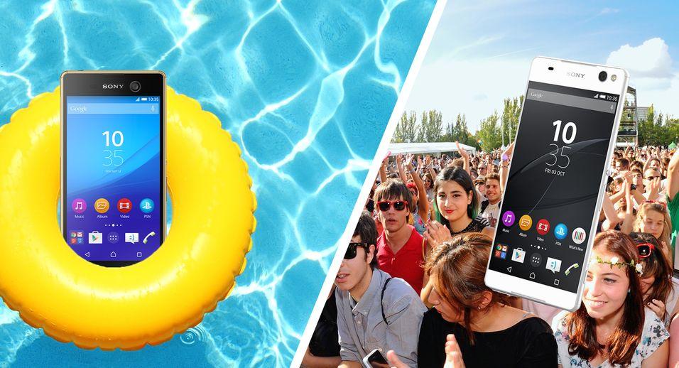 Xperia M5 er vanntett og har fått kliss ny kamerabrikke, mens Xperia C5 Ultra er en diger selfie-mobil.
