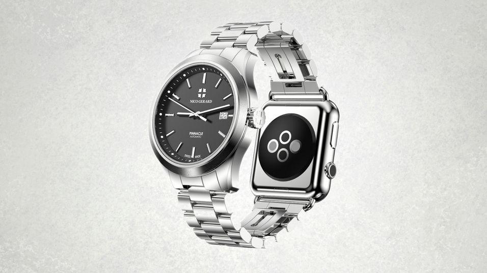 De nye Pinnacle-klokkene lar deg feste til en Apple Watch-smartklokke.
