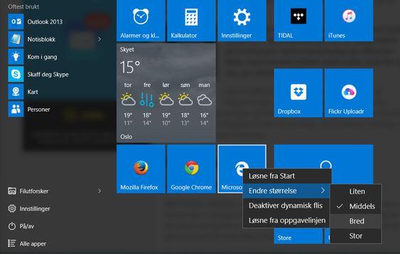 Startmenyen i Windows 10 kan du enkelt tilpasse etter eget ønske.